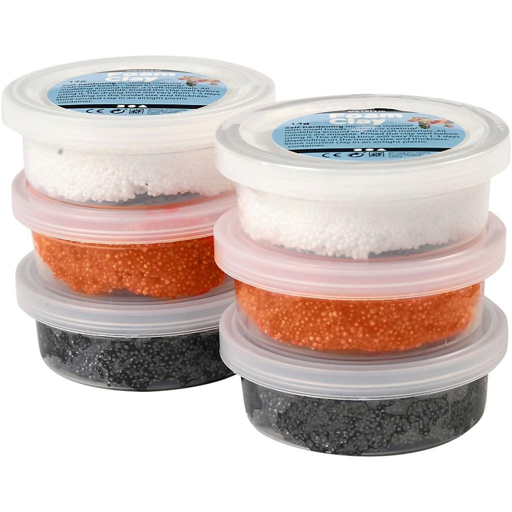 Foam Clay, glow in the dark, oranje, zwart, Halloween, 6x14gr