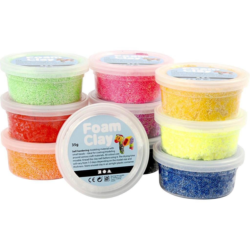 Foam Clay, kleuren assorti, basis, 10x35gr